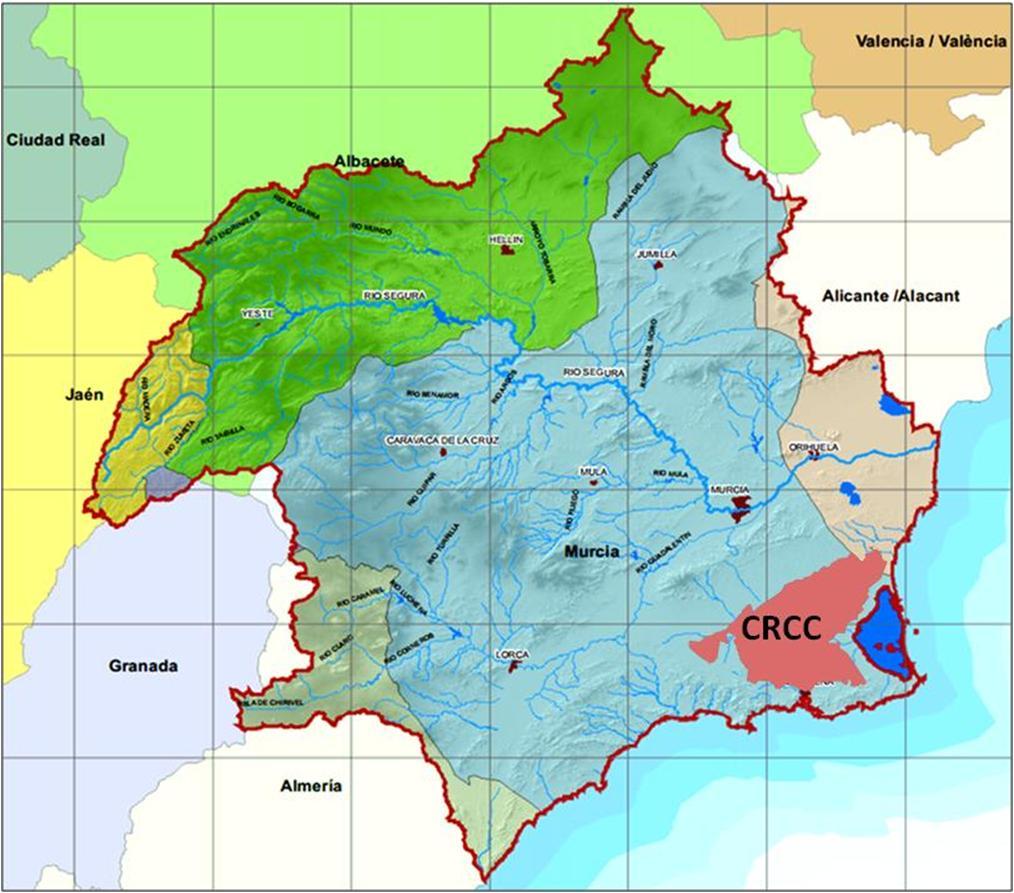 Ubicación de la Comunidad de Regantes del Campo de Cartagena (CRCC) en la Región de Murcia