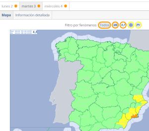 2019-12-02 10_03_19-El Tiempo. Avisos meteorológicos - Mañana - Mapa - Lluvias - Agencia Estatal de
